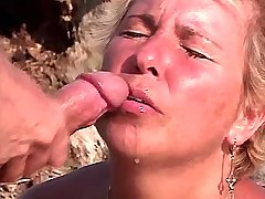 Granny has hard anal fuck and gets facial outdoor