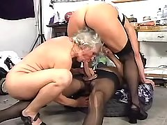 Man in stockings fucks with two horny aged matures