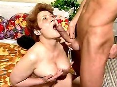 Old housewife sucks cock
