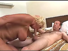 Blonde mature sucks cock and fucks in doggy style