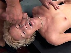 Aged mom fucks in all holes n gets facials in orgy