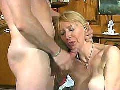 Aged blonde mature fucks from behind n gets facial