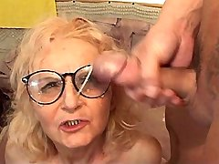 Granny has hard fuck in diff poses and gets facial