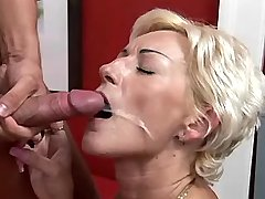 Blonde mature has fuck from behind and gets facial