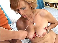 Aged mature fucks in all holes n gets cum on tits